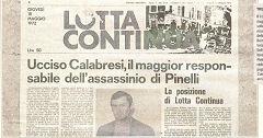 prima pagina di lotta continua - calabresi - maggio 72